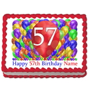 Partypro EDIBLE-BB57 57Th Birthday Balloon Blast Edible Image