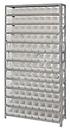 Quantum 1275-101CL Clear-View Shelf Bin Units, 12