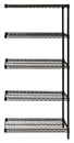 Quantum AD74-2424BK-5 Wire Shelving Add-on Kit, 24