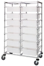 Quantum BC214069M1DCL Double Bay Bin Cart With Clear-View Dividable Grid Containers, 24