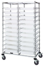 Quantum BC214069M2DCL Double Bay Bin Cart With Clear-View Dividable Grid Containers, 24
