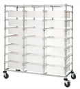 Quantum BC216069M1TCL Triple Bay Bin Cart With Clear-View Dividable Grid Containers, 24