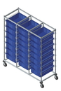 Quantum BC216069M1T Triple Bay Bin Carts, 24