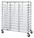 Quantum BC216069M2TCL Triple Bay Bin Cart With Clear-View Dividable Grid Containers, 24