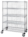 Quantum M2436C46E-5 Three Sided 5 Shelf Cart With Enclosure Panels, 24