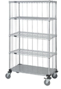 Quantum M2436CG46RE-5 3 Sided Stem Caster Wire Shelf Cart With Rods & Tabs, 24