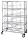 Quantum M2448C46E-5 Three Sided 5 Shelf Cart With Enclosure Panels, 24