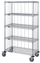 Quantum M2460C46RE-5 3 Sided 5 Wire Shelf Cart With Rods & Tabs, 24