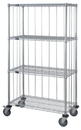 Quantum M2460C46RE 4 Wire Shelf Cart with Rods & Tabs (Outside Dimensions: 60