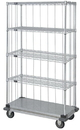 Quantum MD1836CG47RE-5 3 Sided Dolly Base Wire Shelf Cart With Rods & Tabs, 18