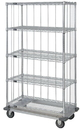Quantum MD2460C47RE-5 3 Sided Dolly Base 5 Wire Shelf Cart With Rods & Tabs, 24