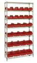 Quantum W7-12-26 Heavy-duty wire shelving with QuickPick bins - complete package, 10 QP1265 and 16 QP1285