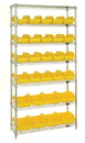 Quantum W7-12-28 Heavy-duty wire shelving with QuickPick bins - complete package, 20 QP1265 and 8 QP1285