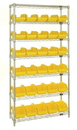 Quantum W7-12-30 Heavy-duty wire shelving with QuickPick bins - complete package, 30 QP1265