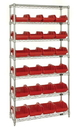 Quantum W7-18-24 Heavy-duty wire shelving with QuickPick bins - complete package, 24 QP1887