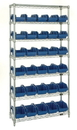 Quantum W7-18-30 Heavy-duty wire shelving with QuickPick bins - complete package, 30 QP1867