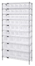 Quantum WR10-230240CL Clear-View Hang-and-Stack Bins - Complete Wire Package, 36 QUS230CL, 12 QUS240CL BINS