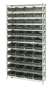Quantum WR12-114CO Wire Shelving Units Complete With Conductive Shelf Bins, 44 QSB114CO BINS