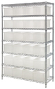 Quantum WR12-93030CL Wire Shelving Units With Clear Dividable Grid Containers