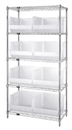 Quantum WR5-270CL Wire Shelving Units Complete With Clear-View Ultra Bins, 8 QUS270CL BINS