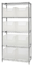 Quantum WR5-800CL Wire Shelving Units Complete With Clear-View Giant Hopper Bins, 8 QGH800CL