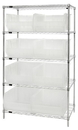 Quantum WR5-955CL Wire Shelving Unit with Clear-View Bins - Complete Package, 8 QUS955CL BINS