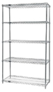 Quantum WR54-1436S-5 Wire Shelving 5-Shelf Starter Units - Stainless Steel, 14