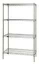 Quantum WR54-3648S Wire Shelving 4-Shelf Starter Units - Stainless Steel, 36