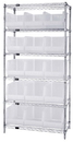 Quantum WR6-260CL Wire Shelving and Clear-View Bin System - Complete Package, 15 QUS260CL BINS