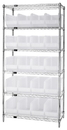 Quantum WR6-265CL Wire Shelving Unit with Clear-View Bins - Complete Package, 20 QUS265CL BINS