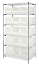 Quantum WR6-953CL Wire Shelving with Clear-View Bins - Complete Package, 15 QUS953CL BINS