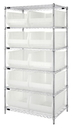 Quantum WR6-954CL Wire Shelving Unit with Clear-View Bins - Complete Package, 10 QUS954CL BINS
