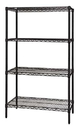 Quantum WR74-1836BK Wire Shelving 4-Shelf Starter Units - Black, 18