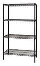 Quantum WR74-1872BK Wire Shelving 4-Shelf Starter Units - Black, 18