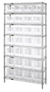 Quantum WR8-239CL Clear-View hang and stack bins - complete wire package, 28 QUS239CL BINS
