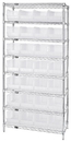 Quantum WR8-240CL Wire Shelving with Clear-View Bins - Complete Package, 28 QUS240CL BINS