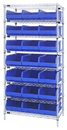 Quantum WR8-445 Stackable Shelf Bin Wire Shelving Packages, 21 SSB445