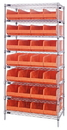 Quantum WR8-483 Stackable Shelf Bin Wire Shelving Packages, 28 SSB483