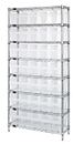 Quantum WR8-802CL Wire Shelving Units With Clear-View Store-Max 8