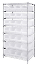 Quantum WR8-950CL Wire Shelving with Clear-View Bins - Complete Package, 28 QUS950CL BINS