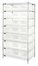 Quantum WR8-952CL Wire Shelving Unit with Clear-View Bins - Complete Package, 21 QUS952CL BINS