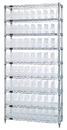 Quantum WR9-201CL Wire Shelving Shelf Bin System - Complete Wire Package, 64 QSB201CL BINS