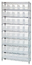 Quantum WR9-202CL Wire Shelving Shelf Bin System - Complete Wire Package, 40 QSB202CL BINS