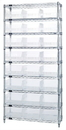 Quantum WR9-216CL Wire Shelving Shelf Bin System - Complete Wire Package, 24 QSB216CL BINS