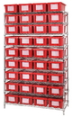 Quantum WR9-36180 wire shelving system with genuine stack and nest totes - complete package