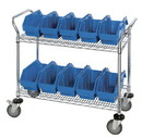 Quantum WRC2-1836-1887 QuickPick Bin Mobile Wire Cart, 2 Shelf Cart, 8 QP1887 Bins