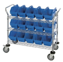Quantum WRC3-1836-1887 QuickPick Bin Mobile Wire Cart, 3 Shelf Cart, 12 QP1887 Bins