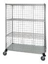 Quantum WRCS4-63-2460EP 4 Shelf Mobile Cart W/Solid Bottom Shelf & Enclosure Panels, 24