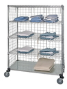 Quantum WRCS4-74-2448EP-5 5 Shelf Mobile Cart W/Solid Bottom Shelf & Enclosure Panels, 24