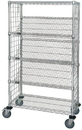 Quantum WRCSL5-63-1836EP Wire Slanted Shelf Cart With Enclosure Panels, 18